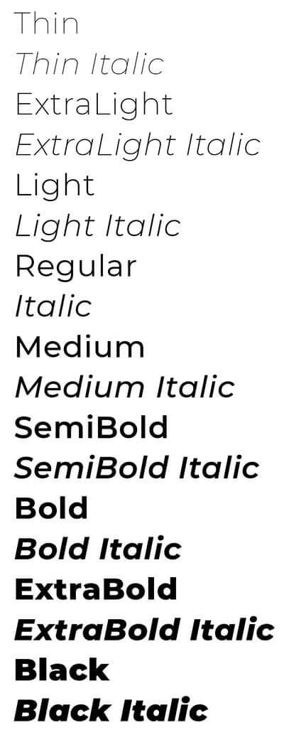 Montserrat Typeface Font Styles