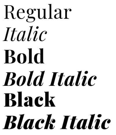 Playfair Display Typography Font Styles