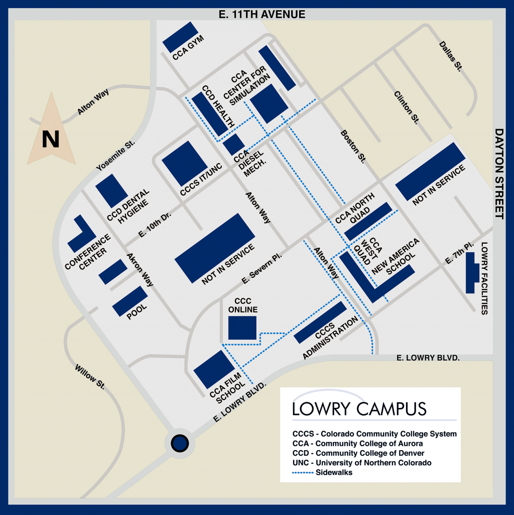 Lowry Campus Map. Building names and addresses are below