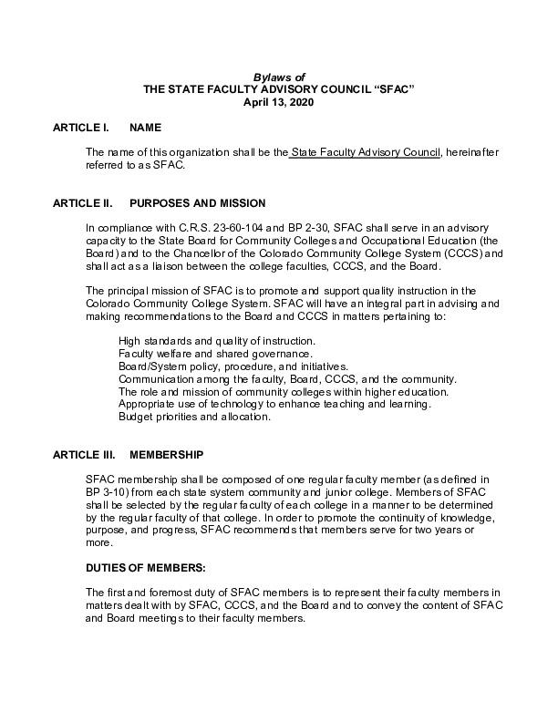 SFAC Bylaws PDF