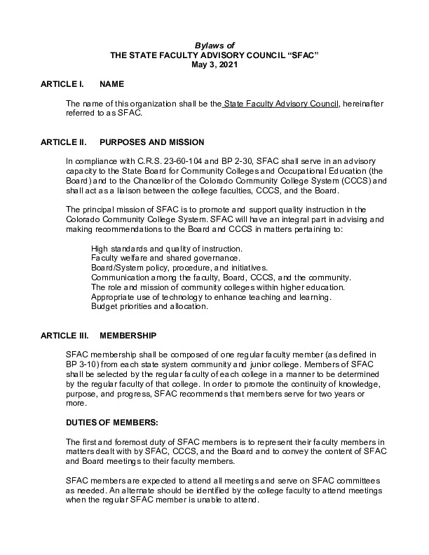 2021 SFAC Approved Bylaws PDF