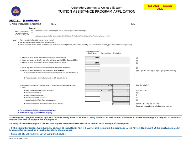 2021 – 2022 Tuition Application Reimbursement Request & Calculation Form (For Finance Use Only) Excel