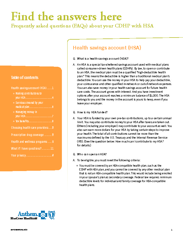 Anthem HDHP with HSA FAQs PDF