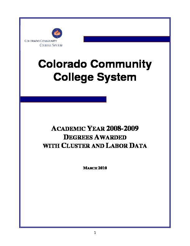 2008-09 Degrees Awarded with Occupational Cluster and Labor Data PDF