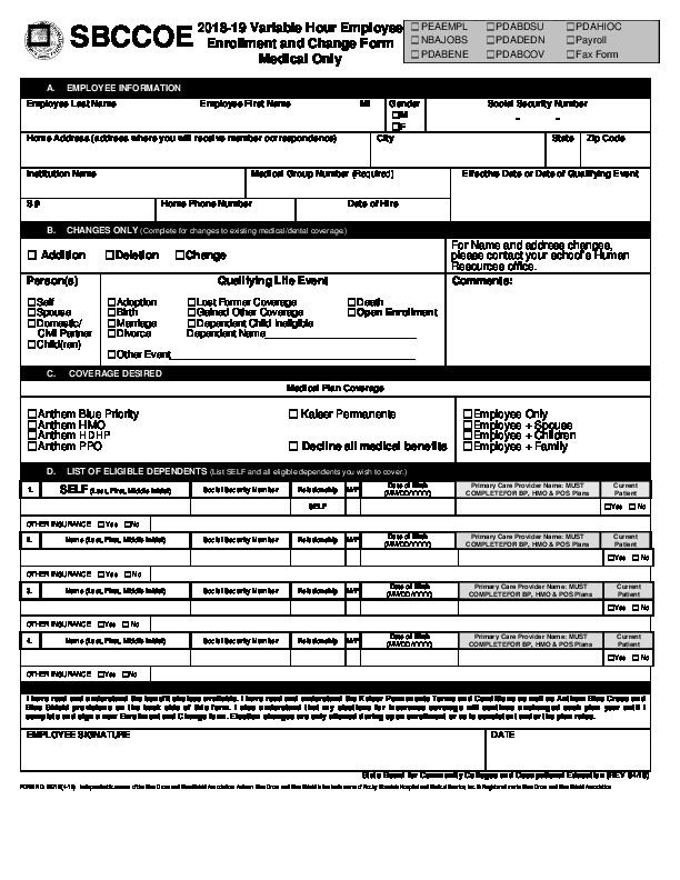 Adjunct & Variable Hour Enrollment & Change Form PDF