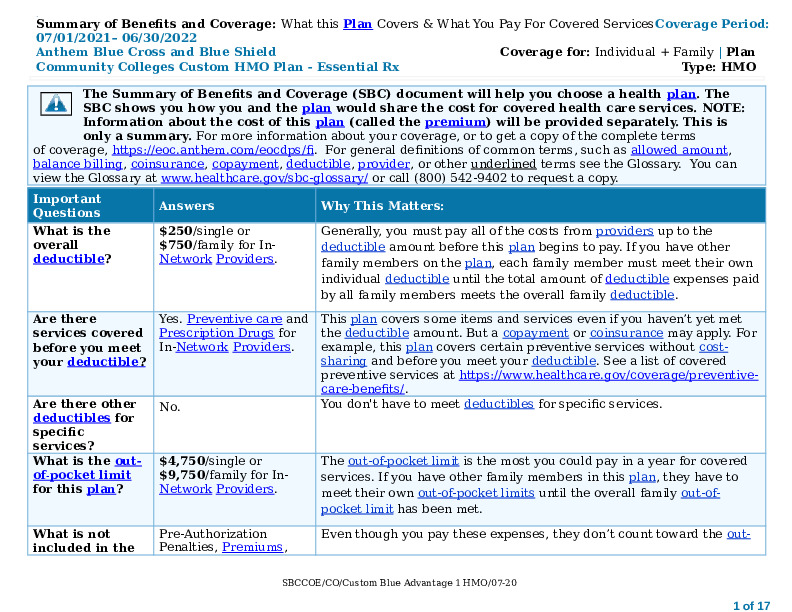 Anthem Blue Advantage HMO SBC 2021 Word Document