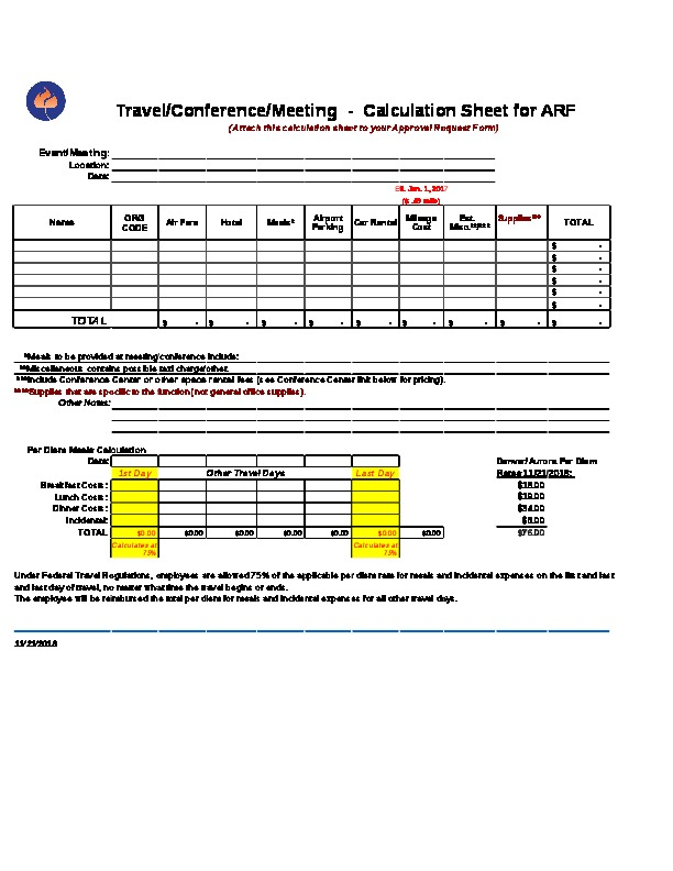 Approval Request Form – Travel Calculation Sheet Excel