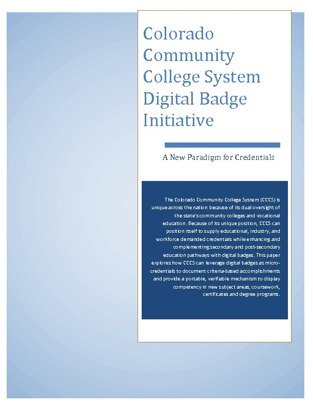 CCCS Digital Badge Initiative | A New Paradigm for Credentials PDF