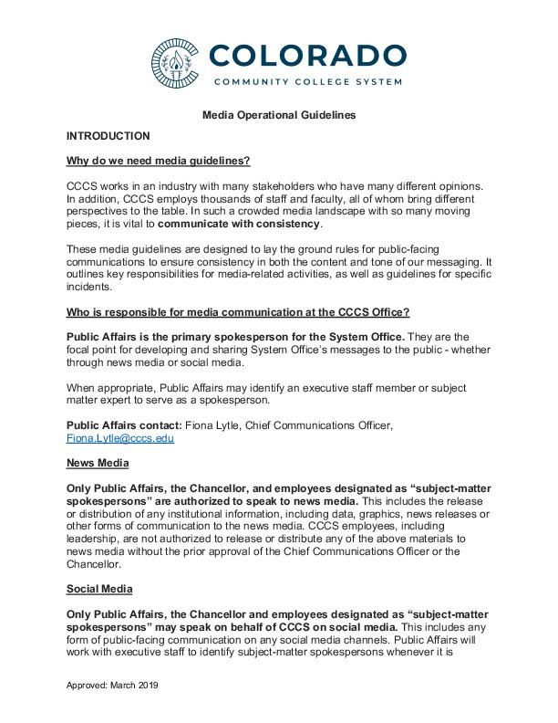 CCCS Media Guidelines PDF