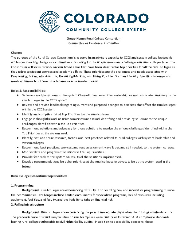 Charter for the Rural College Consortium PDF