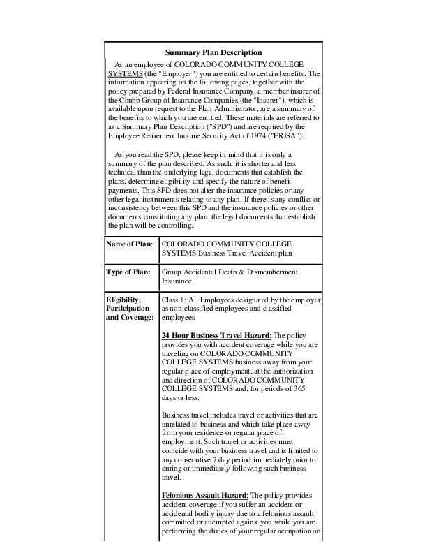 Chubb Business Travel Accident Plan PDF