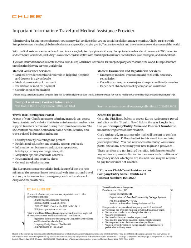 Chubb Business Travel Card PDF