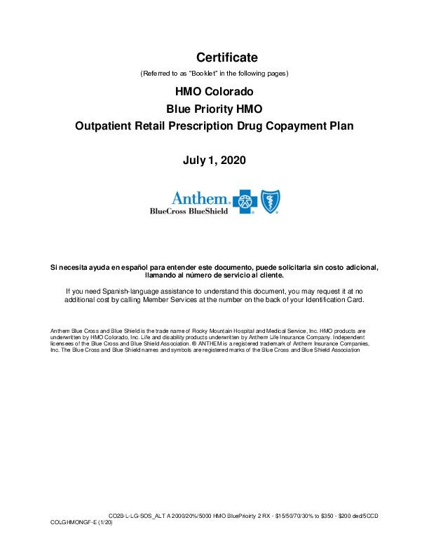 EOC Anthem Blue Priority HMO 2020 PDF