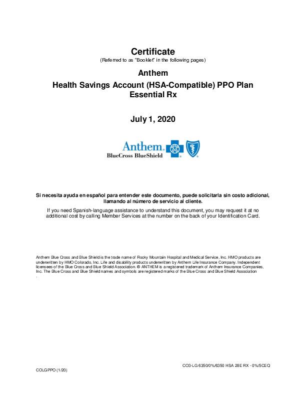 EOC Anthem High Deductible 2020 PDF