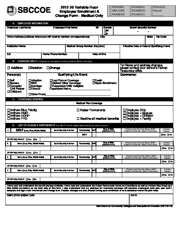 Instructor & Variable Hour Enrollment/Change Form PDF