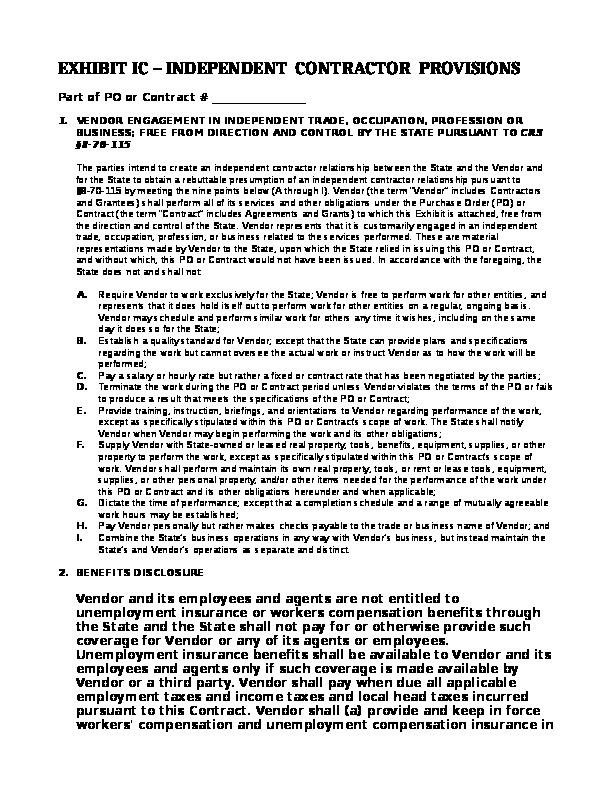Exhibit IC – Independent Contractor Status Word Document