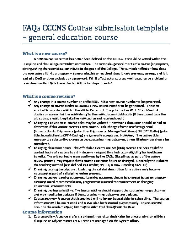 FAQs CCNS Course submission template gen ed PDF