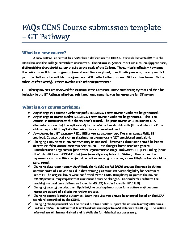 FAQs CCNS GT Pathways Course submission template PDF