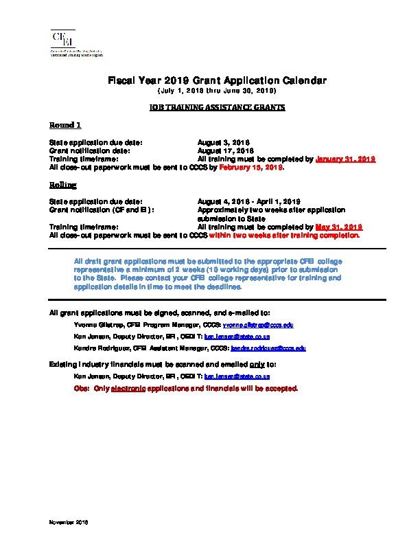 FY2019 CF and EI Grant Calendar PDF