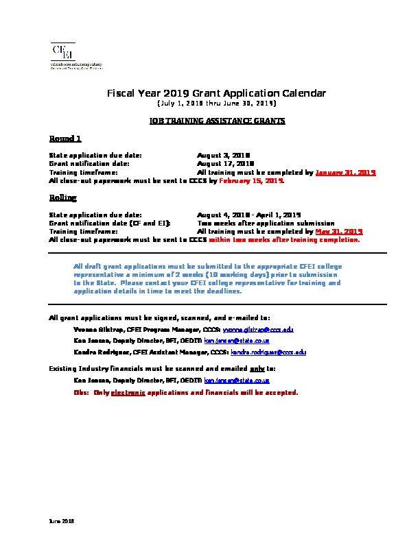 FY 2019 CF and EI Grant Application Calendar PDF