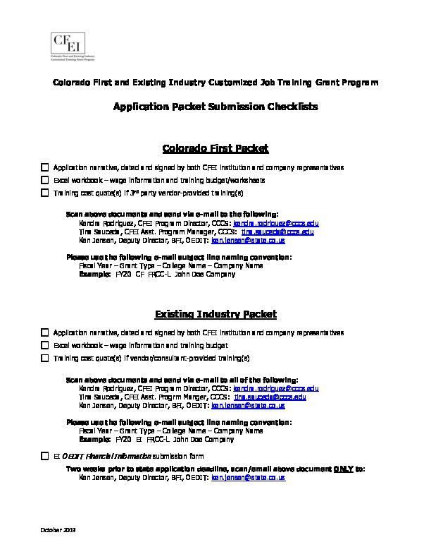 CFEI Grant App Packet Checklist PDF