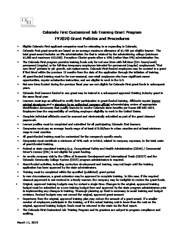 FY2020 CF Grant Program Policies and Procedures PDF