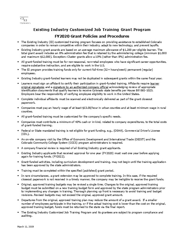 FY2020 Existing Industry Grant Program Policies and Procedures PDF