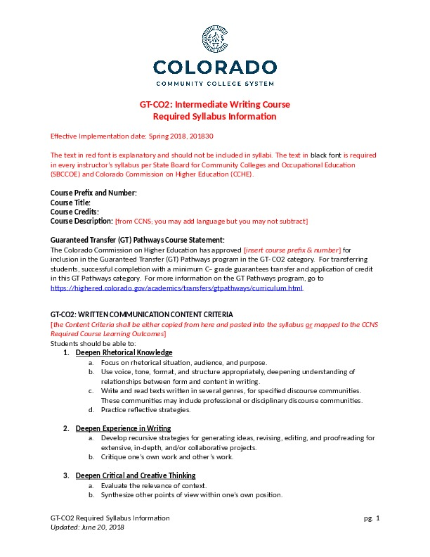 GT-CO2 Intermediate Writing Course Word Document