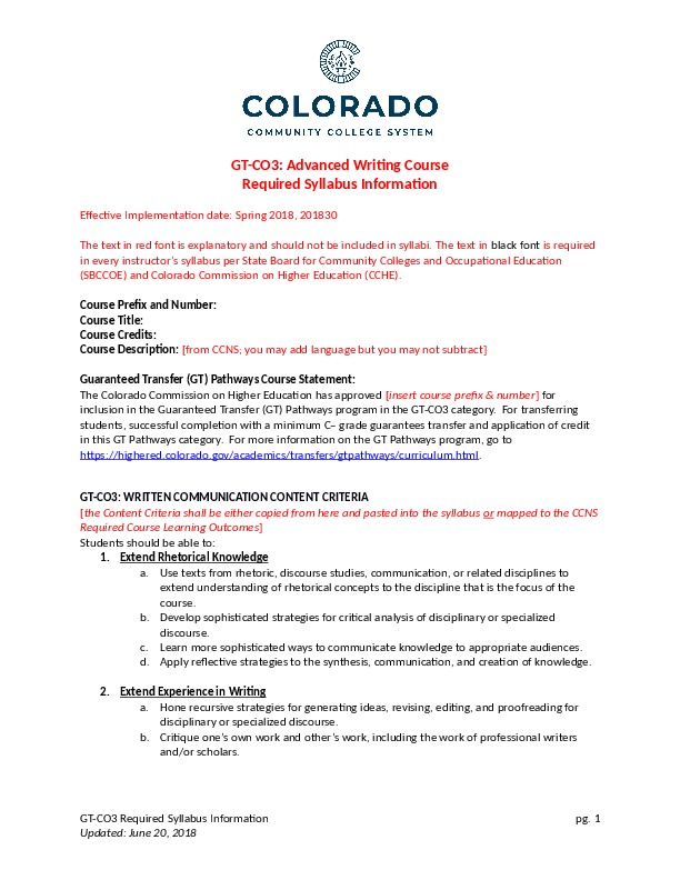 GT-CO3 Advanced Writing Course Word Document