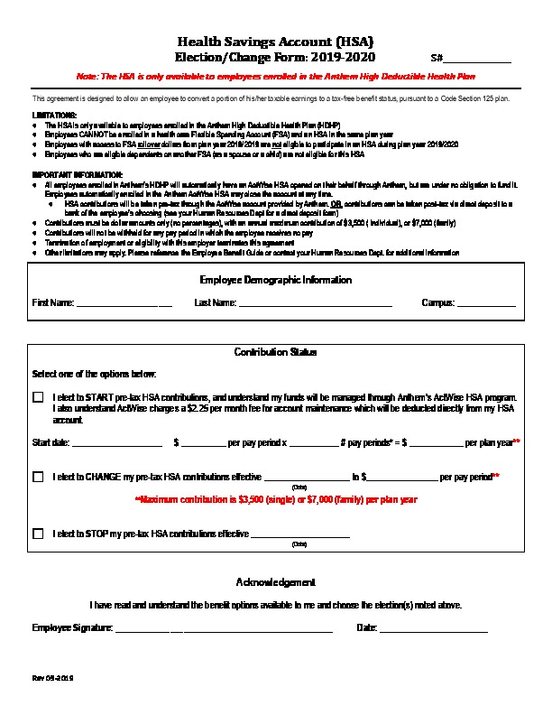 Anthem ActWise HSA Enrollment Form 2019-20 PDF