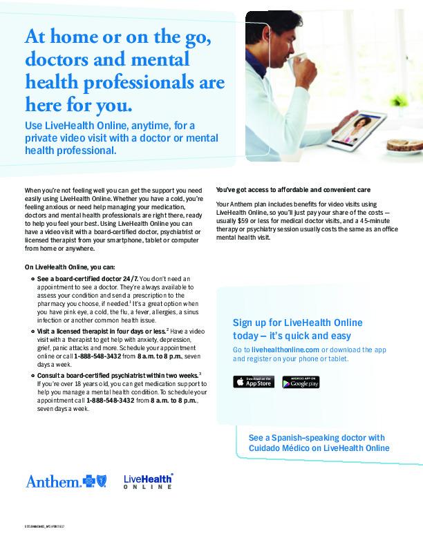 Anthem LHO Medical and Psych Flyer PDF