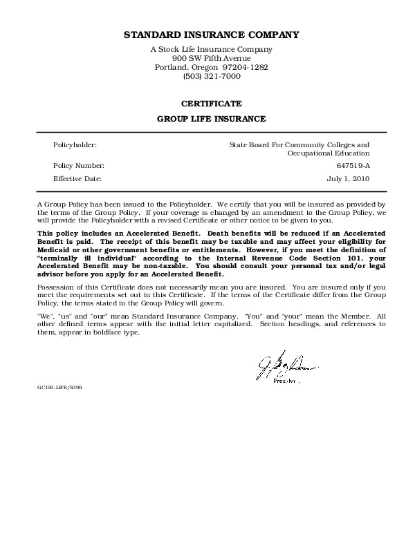 Standard Life Certificate of Coverage PDF