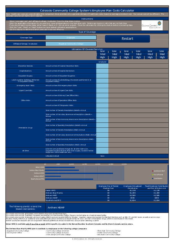 Medical Plan Selector Tool Excel