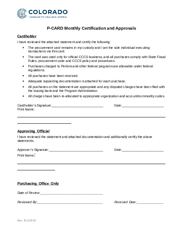 Monthly Certification and Approvals Form Word Document