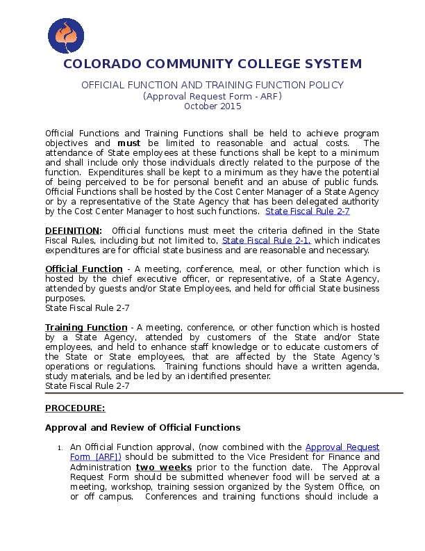 Official Function Policy Word Document
