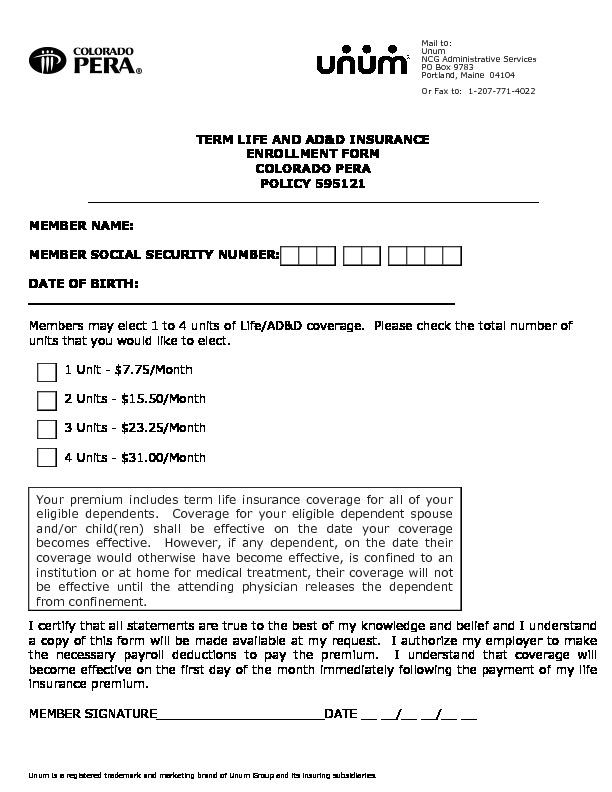 PERA Life Enrollment Form PDF