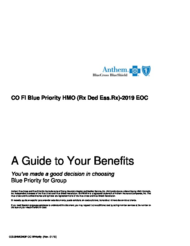 Anthem Blue Priority Evidence of Coverage 2019 PDF