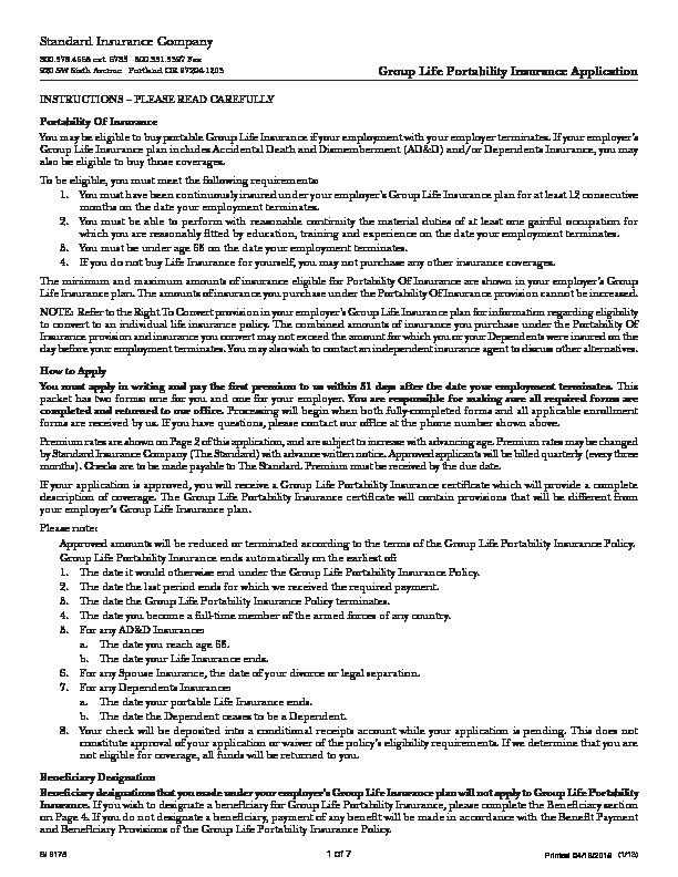 Standard Life Portability Application PDF