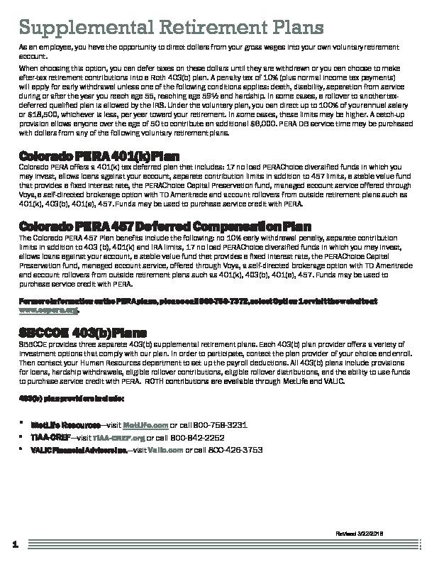 Supplemental Retirement Plan Comparison 2018 PDF