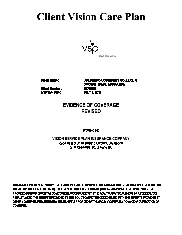 VSP Evidence of Coverage PDF