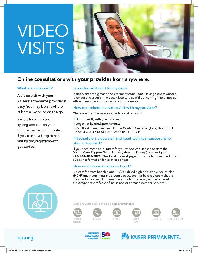 Kaiser Video Visits Flyer PDF