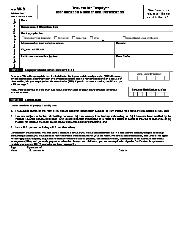 W-9 – Request for Taxpayer Identification Number and Certification Word Document